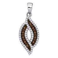 10kt White Gold Womens Round Cognac-brown Color Enhanced Diamond Oval Frame Pendant 1/3 Cttw