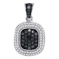 10kt White Gold Womens Round Black Color Enhanced Diamond Square Cluster Pendant 1/2 Cttw
