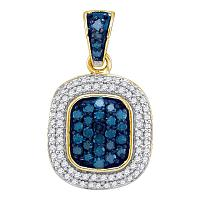10kt Yellow Gold Womens Round Blue Color Enhanced Diamond Double Rectangle Frame Cluster Pendant 1/2 Cttw