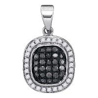 10kt White Gold Womens Round Black Color Enhanced Diamond Cluster Pendant 1/4 Cttw