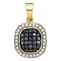 10kt Yellow Gold Womens Round Black Color Enhanced Diamond Square Cluster Pendant 1/4 Cttw