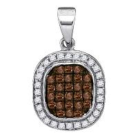 10kt White Gold Womens Round Brown Color Enhanced Diamond Fashion Pendant 1/4 Cttw