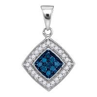 10kt White Gold Womens Round Blue Color Enhanced Diamond Diagonal Square Pendant 1/4 Cttw