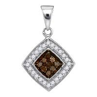 10kt White Gold Womens Round Cognac-brown Color Enhanced Diamond Square Pendant 1/4 Cttw