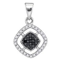 10kt White Gold Womens Round Black Color Enhanced Diamond Diagonal Square Frame Pendant 1/5 Cttw