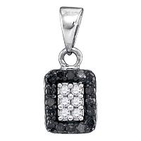 10kt White Gold Womens Round Black Color Enhanced Diamond Rectangle Cluster Pendant 1/5 Cttw