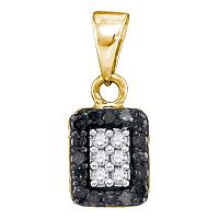 10kt Yellow Gold Womens Round Black Color Enhanced Diamond Rectangle Cluster Pendant 1/5 Cttw