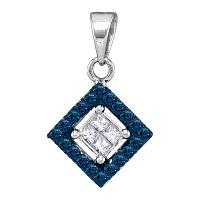 10kt White Gold Womens Round Blue Color Enhanced Diamond Diagonal Square Pendant 1/3 Cttw