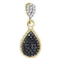 10kt Yellow Gold Womens Round Black Color Enhanced Diamond Teardrop Cluster Pendant 1/4 Cttw