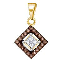 10kt Yellow Gold Womens Round Cognac-brown Color Enhanced Diamond Diagonal Square Pendant 1/3 Cttw