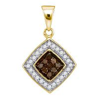 10kt Yellow Gold Womens Round Cognac-brown Color Enhanced Diamond Square Pendant 1/4 Cttw