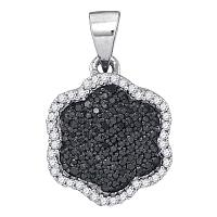 10kt White Gold Womens Round Black Color Enhanced Diamond Hexagon Cluster Pendant 1/4 Cttw
