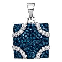 Sterling Silver Womens Round Blue Color Enhanced Diamond Square Pendant 1/3 Cttw