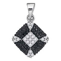 Sterling Silver Womens Round Black Color Enhanced Diamond Square Cluster Pendant 1/4 Cttw