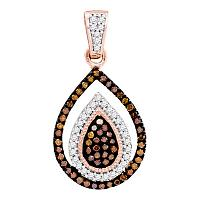 10kt Rose Gold Womens Round Red Color Enhanced Diamond Teardrop Frame Cluster Pendant 1/4 Cttw