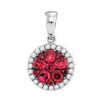 14kt White Gold Womens Round Ruby Cluster Diamond Circle Frame Pendant 5/8 Cttw