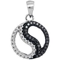 10kt White Gold Womens Round Black Color Enhanced Diamond Ying Yang Circle Pendant 1/10 Cttw