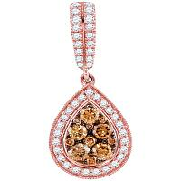 14kt Rose Gold Womens Round Brown Diamond Teardrop Cluster Pendant 1.00 Cttw