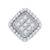 10kt White Gold Womens Round Diamond Diagonal Square Frame Cluster Pendant 1/4 Cttw