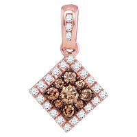 10kt Rose Gold Womens Round Cognac-brown Color Enhanced Diamond Diagonal Square Frame Pendant 1/3 Cttw