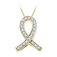 10k Yellow Gold Womens Diamond Ribbon Remembrance Symbol Pendant 1/10 Cttw