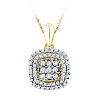 10kt Yellow Gold Womens Round Diamond Cluster Double Frame Square Pendant 1/3 Cttw