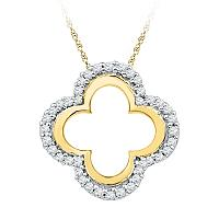 10kt Yellow Gold Womens Round Diamond Quatrefoil Cutout Pendant 1/8 Cttw