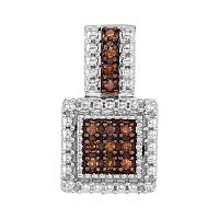 Sterling Silver Womens Round Cognac-brown Color Enhanced Diamond Square Cluster Pendant 1/6 Cttw
