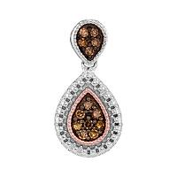 Sterling Silver Womens Round Cognac-brown Color Enhanced Diamond Teardrop Cluster Pendant 1/6 Cttw