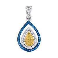 10kt White Gold Womens Round Blue Yellow Color Enhanced Diamond Teardrop Cluster Pendant 1/4 Cttw