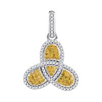 10kt White Gold Womens Round Yellow Color Enhanced Diamond Trefoil Cluster Pendant 3/8 Cttw