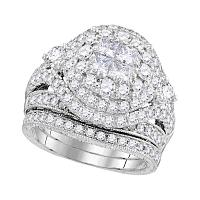 14kt White Gold Womens Princess Diamond Soleil Cluster Bridal Wedding Engagement Ring Band Set 2-3/4 Cttw