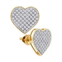 10kt Yellow Gold Womens Round Diamond Heart Cluster Screwback Earrings 1/3 Cttw
