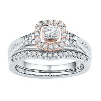 10kt White Gold Womens Round Diamond Rose-tone Halo Bridal Wedding Engagement Ring Band Set 1/2 Cttw