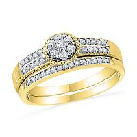 10kt Yellow Gold Womens Round Diamond Cluster Bridal Wedding Engagement Ring Band Set 1/4 Cttw