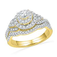 10kt Yellow Gold Womens Round Diamond Double Halo Bridal Wedding Engagement Ring Band Set 3/4 Cttw
