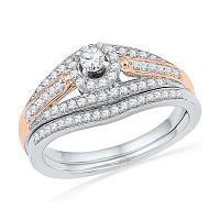 10kt White Two-tone Gold Womens Round Diamond Bridal Wedding Engagement Ring Band Set 1/2 Cttw