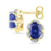 10kt Yellow Gold Womens Oval Lab-Created Blue Sapphire Solitaire Diamond Earrings 2-1/2 Cttw