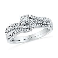 10kt White Gold Womens Round Diamond Crossover Bridal Wedding Engagement Ring Band Set 1/2 Cttw