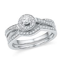 10kt White Gold Womens Round Diamond Halo Bridal Wedding Engagement Ring Band Set 1/2 Cttw