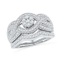 10kt White Gold Womens Diamond Cluster Twist Bridal Wedding Engagement Ring Band Set 3/4 Cttw