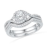 10k White Gold Round Diamond Womens Woven Bridal Wedding Engagement Ring Set 5/8 Cttw