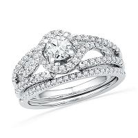 14kt White Gold Womens Round Diamond Bridal Wedding Engagement Ring Band Set 3/4 Cttw