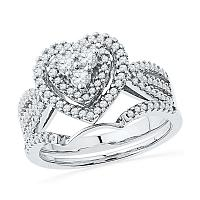 10kt White Gold Womens Round Diamond Heart Bridal Wedding Engagement Ring Band Set 5/8 Cttw