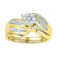 10kt Yellow Gold Womens Diamond Flower Cluster Bridal Wedding Engagement Ring Band Set 1/2 Cttw