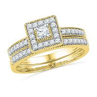 10kt Yellow Gold Womens Round Diamond Square Halo Bridal Wedding Engagement Ring Band Set 1/2 Cttw
