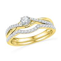 10kt Yellow Gold Womens Round Diamond Twist Bridal Wedding Engagement Ring Band Set 1/3 Cttw