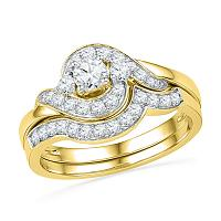14kt Yellow Gold Womens Round Diamond Swirl Bridal Wedding Engagement Ring Band Set 3/4 Cttw