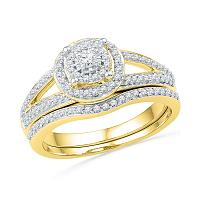 10kt Yellow Gold Womens Round Diamond Halo Split-shank Bridal Wedding Engagement Ring Band Set 1/2 Cttw