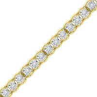 10kt Yellow Gold Womens Round Diamond Tennis Bracelet 1/2 Cttw